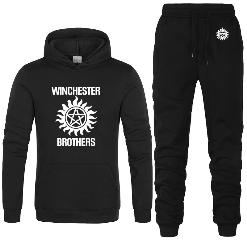 Supernatural Hoodie Men Winchester Bros Printed Mens Hoodies Fleece Unisex Sweatshirt Casual Fashion Men Hoodies Pants Suit 2Pcs
