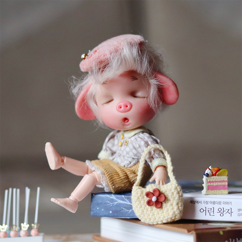 16cm Pig Doll Ob11 13 Joints White Skin BJD Nude Body For Baby Doll Toy DIY Ball Jointed Doll