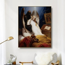 Canvas Art Oil Painting《Angel of death》Horace Vernet Poster Picture Wall Decor Modern Home Decoration For Living room Office