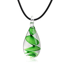 Murano Inspired Blue Drop Shape Fashionable Simple Glass Pendant Necklace elf on the shelf  choker necklace  long necklace