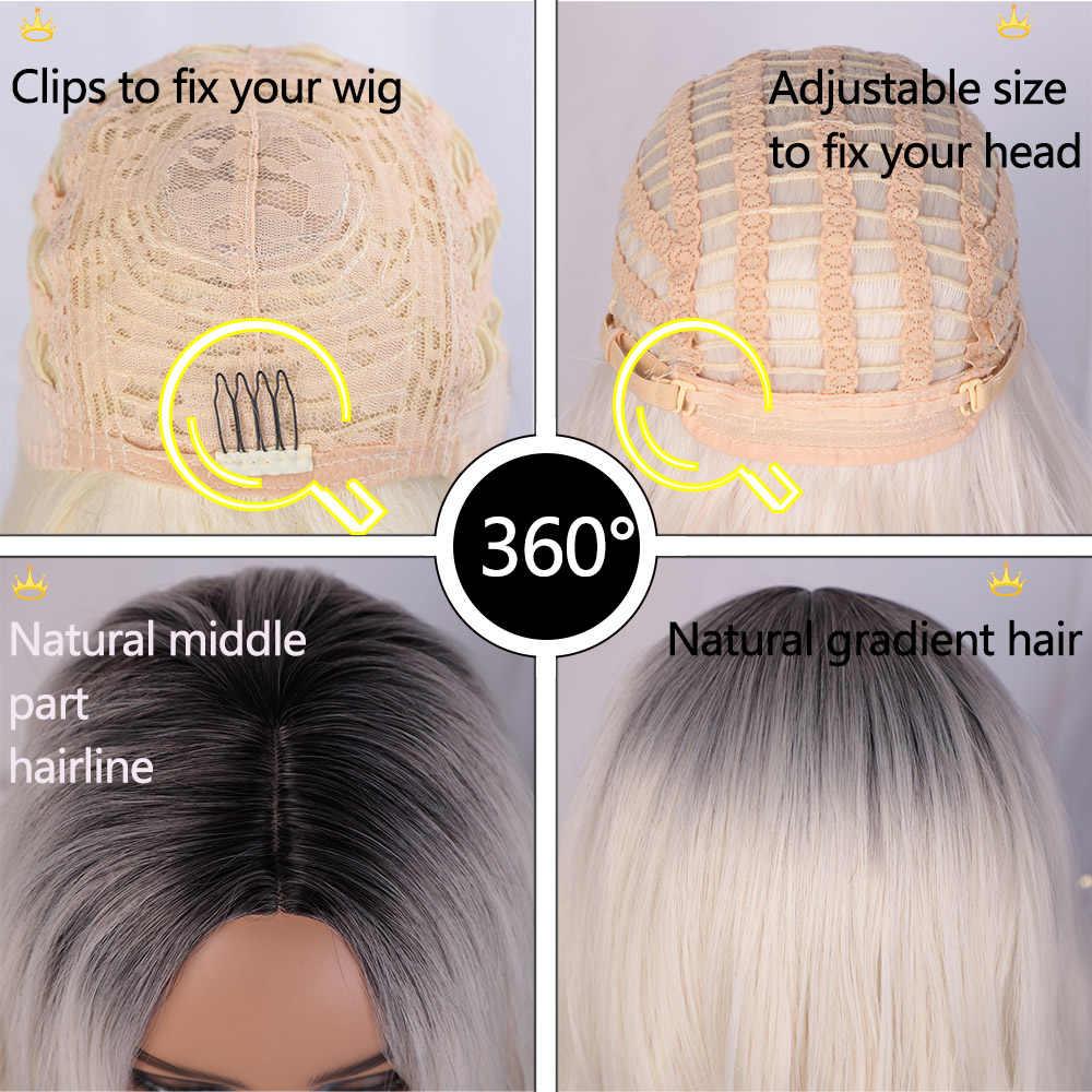 Aisi Schoonheid Lange Golvend Womens Pruik Natuurlijke Deel Side Haar Ombre Synthetische Pruiken Platinum/Blond/Zwart Pruiken Warmte slip Voor Vrouwen