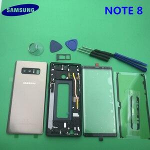 Image 4 - Note8 tam konut Case arka kapak + ön ekran cam Lens + orta çerçeve Samsung Galaxy not 8 için N950 N950F komple parçaları