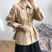 Short Women Trench Coat 2019 New Autumn Full Sleeve Cotton Turn-down Collar  Fashion Loose Brief Collect Waist Wome