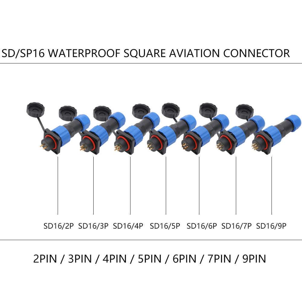 10 sätze/los IP68 Wasserdichte SD16 Luftfahrt Steckdose Männlich + Weiblich 2/3/4/5/6/7/9 Pins IP68 SP16 M16 16mm Luftfahrt Stecker