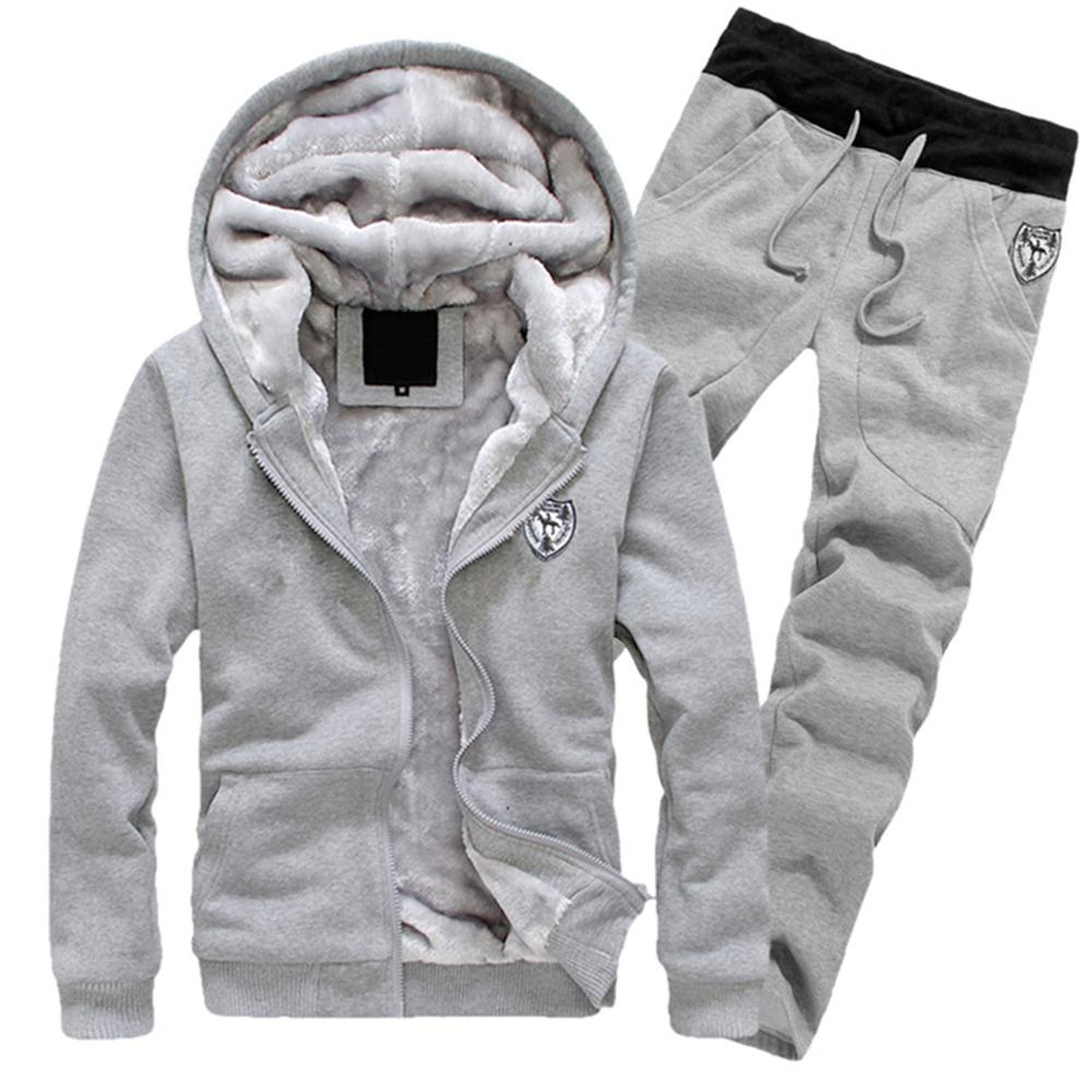 Thick Warm Tracksuit For Men Velvet 2 Piece Set Winter Track Suit Black 3XL Sweatsuit Hooded Coats + Pants Sweatpants