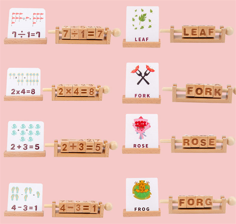 Correspondência alfabeto palavra cartões crianças aprendendo matemática