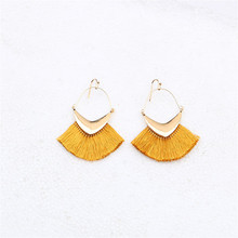 CRLEY Tassel earrings rhombus statement luxury hollow handmade gifts for women geometric fringe fashion drop christmas