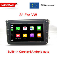 "La UE Stock 8 ""2 Din reproductor de dvd del coche radio para Volkswagen POLO Volkswagen PASSAT TOURAN Golf 5 Android Auto y carplay(China)"