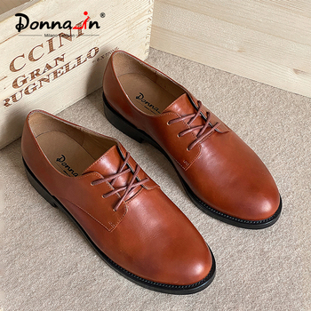 Donna-in Genuine Leather Black Brown Oxford Shoe for Women Low Heel Lace-up Female Shoe Concise Office Career 2020 Spring Summer