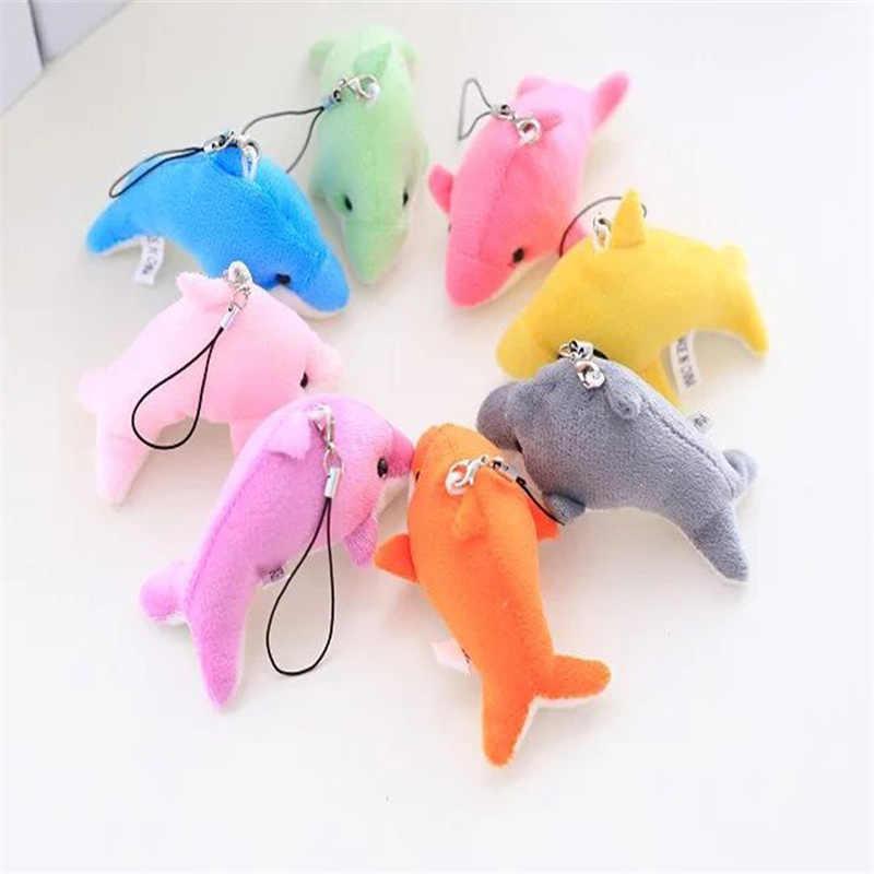 Śliczne 8 kolorów nadziewane delfin-5CM pluszowe zabawki lalki; Ciąg wisiorek wystrój pluszowa zabawka, miękka zabawka delfinów