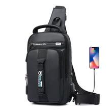 Sac à bandoulière multifonction imperméable pour hommes, sac à épaule Fashion chargeur USB Pack poitrine, sac à épaule pour court voyage, sacoche 2020