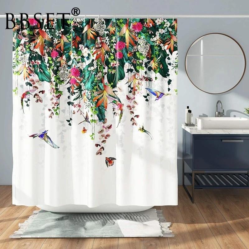 summer floral shower curtain colorful flower vines and birds pattern waterproof multi size douchegordijn bathroom decor