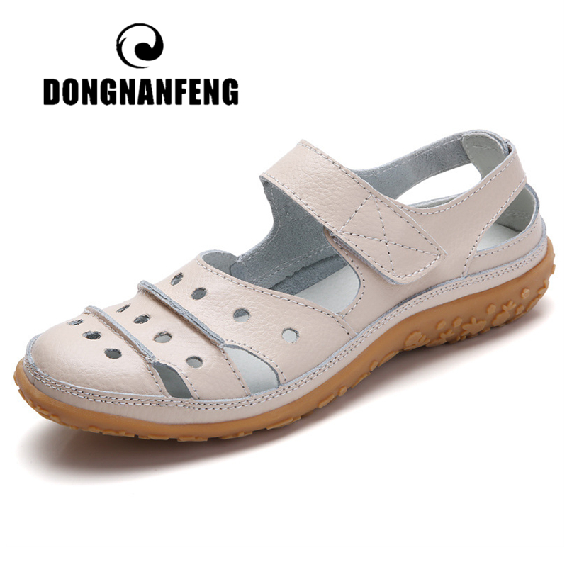 DONGNANFENG Mother Womens Female Ladies Genuine Leather White Shoes Sandals Hook Loop Summer Cool Beach Hollow Soft LLX 9566Womens Sandals   -