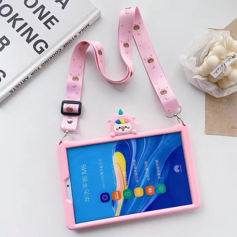 For Huawei MediaPad M3 M5 lite 8.0 10.1 Case Cartoon Kids Case For Huawei T5 10 / M6 8.4 Matepad Pro 10.8'' Silicon Cover +strap image