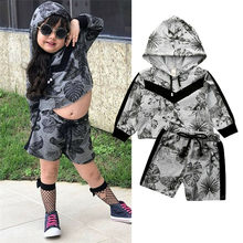 Fashion girls boys children clothing set baby clothes long-sleeve Hooded Sweatshirt shorts pant kids sport suit outwear(China)