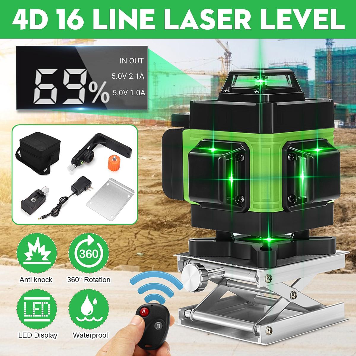 Светодиодный дисплей 16 линейный лазерный уровень 3D 360 ° самонивелирующийся горизонтальный и вертикальный инструмент для поперечного измерения LD зеленый светильник лазерный уровень Лазерные уровни      АлиЭкспресс