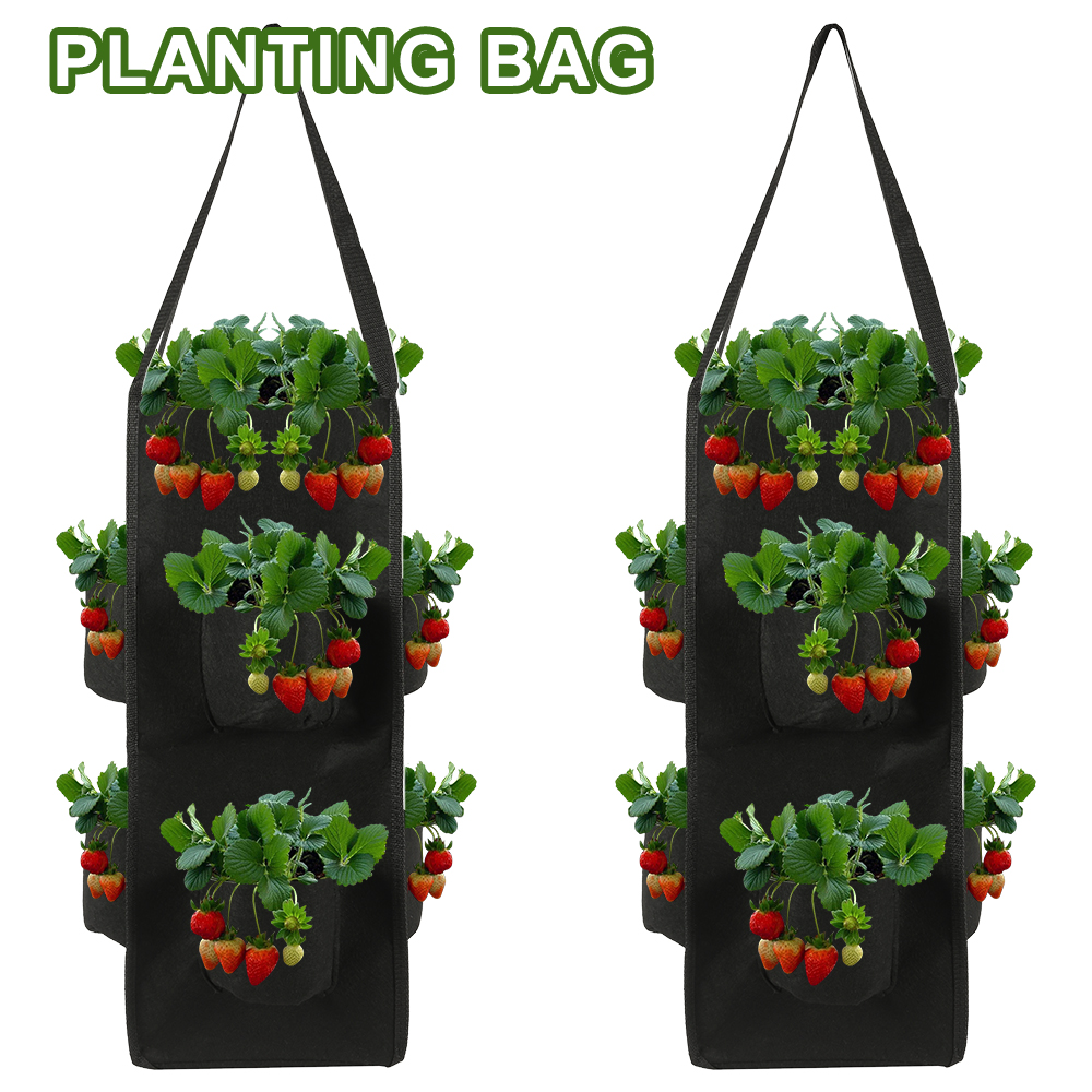 Strawberry Planting Growing Bag 10 Gallons Multi-mouth Container Bags Grow Planter Pouch Root Bonsai Plant Pot Garden Supplies