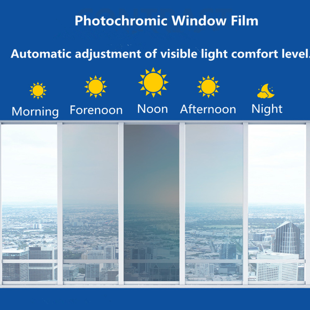 Photochromic Film SUNICE 100x50cm Car Window Tint Home Glass Tinting VLT 69%~25% Blue To Black Optical Control Vinyl Sun Shade