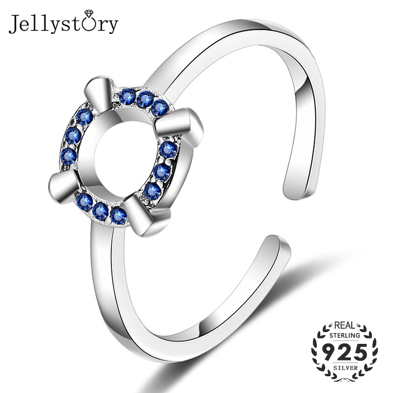 Jellystory Fashion Silver 925 Jewelry Rings for Women Geometric Shape Blue Sapphire Zircon Gemstones Ring for Wedding Party Gift