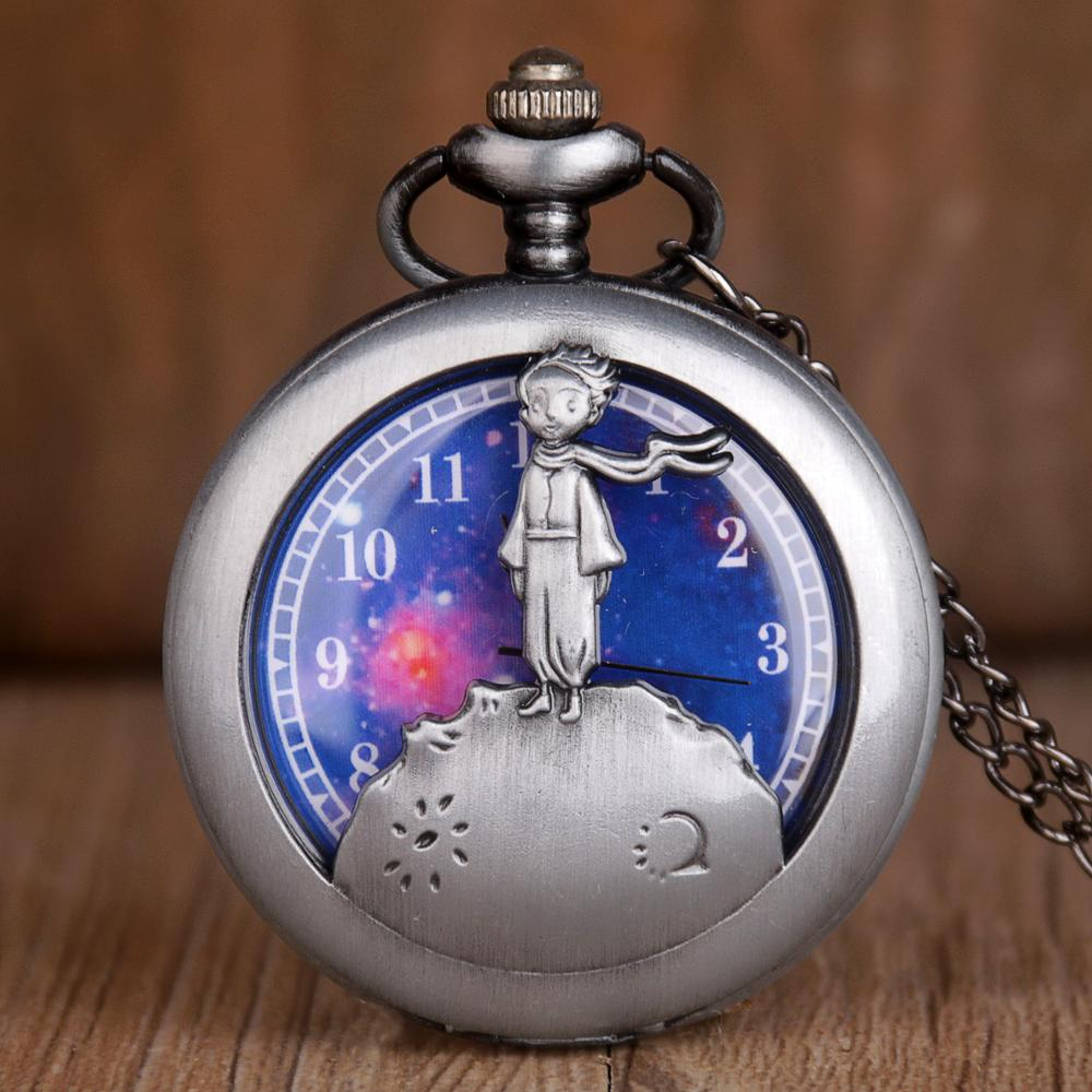 Classic The Little Prince Movie Planet Blue Dial Silver Vintage Quartz Pocket FOB Watch Gifts For Children