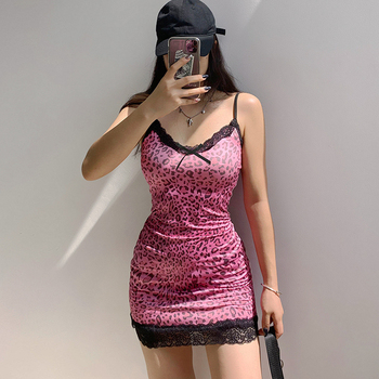 HEYounGIRL Animal Leopard Printed Mini Dress Summer Patchwork Lace Frill Sexy Bodycon Women Y2K Sleeveless Strappy