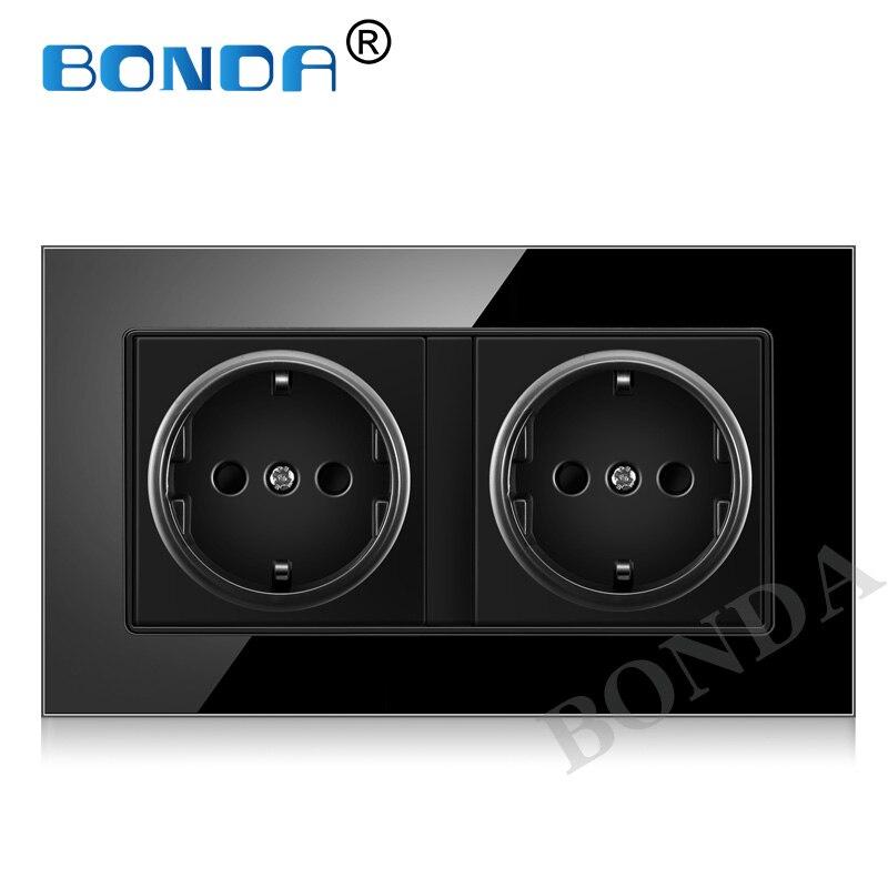 BONDA EU Standard Wall Power Socket,3colors Crystal Glass Panel,socket German standard 2 hole 16A Wall Outlet AC110-250V ,146*86(China)