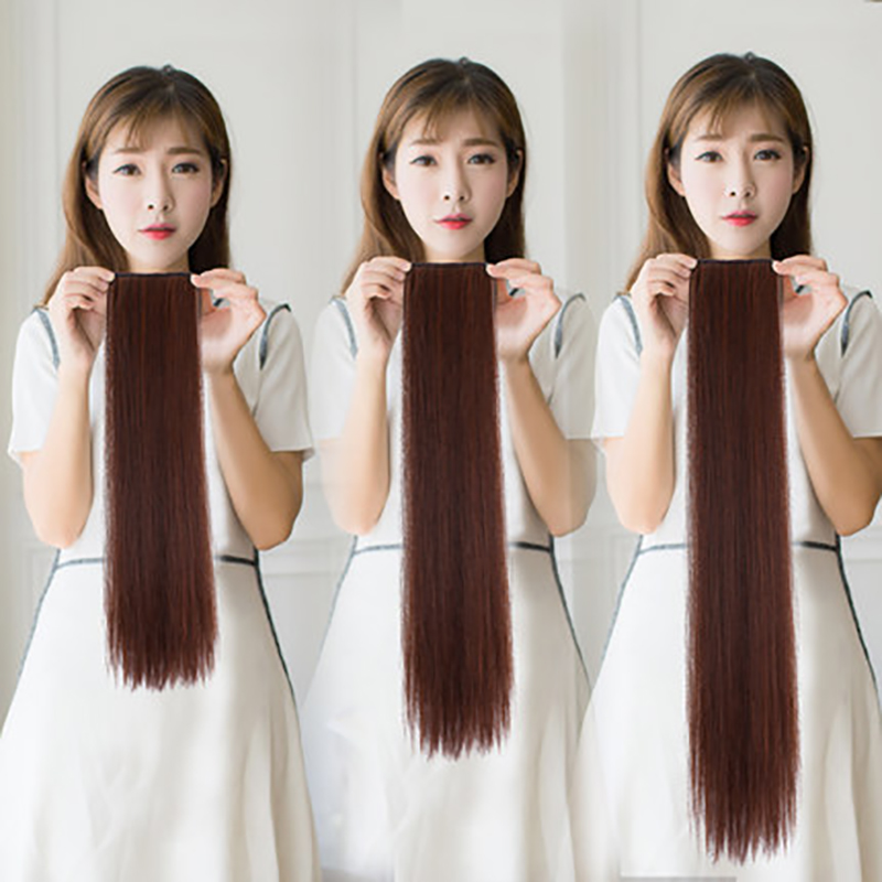 2 Clip In Hair Extensions Synthetic 1 Piece 4 Colors Long Straight Clip On High Temperature Fiber Hair Extensions AOSIWIG