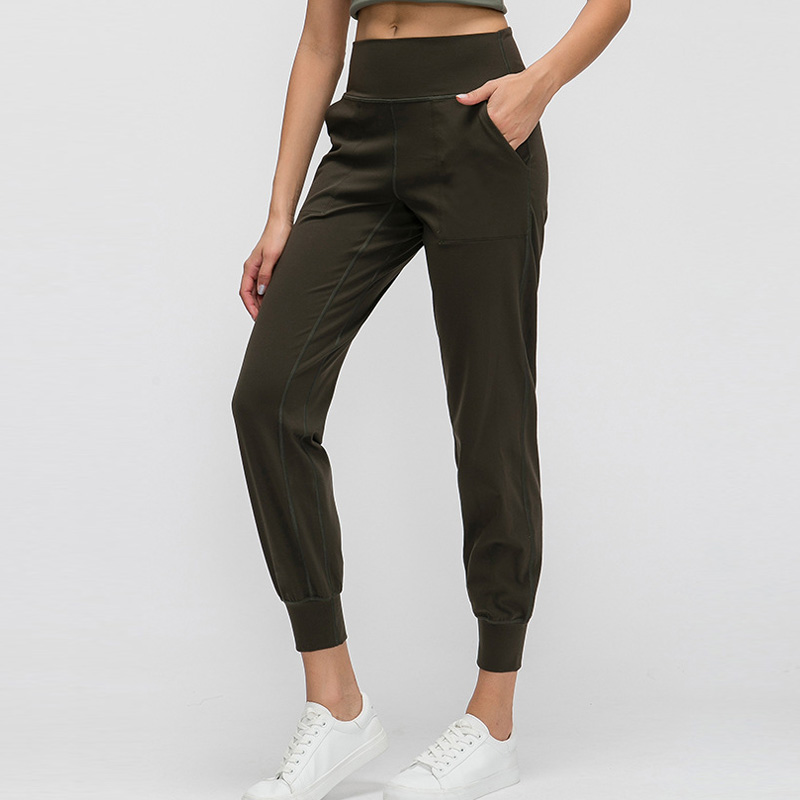 Women Naked-feel Fabric Loose Fit Sport Active Lounge Jogger Butter Soft Elastic Leggings With Two Side Pockets Full Length