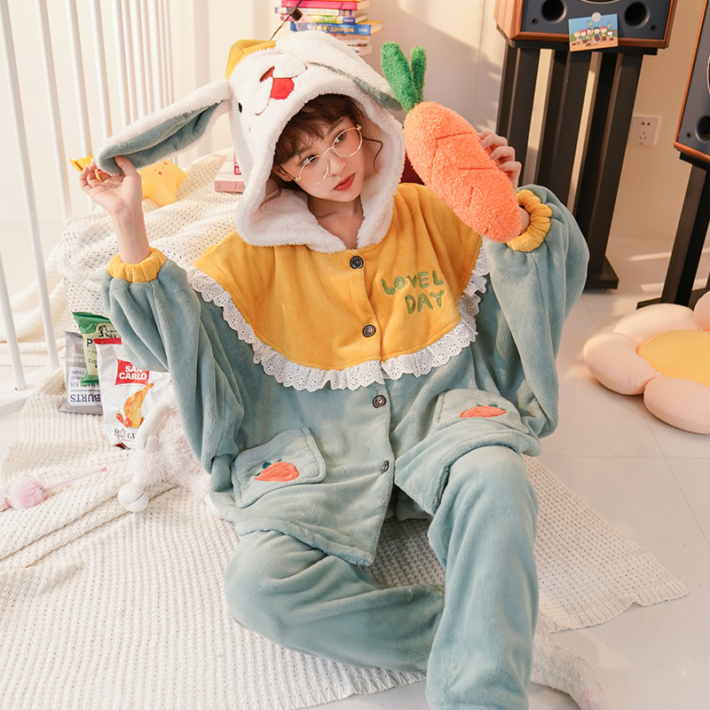 Winter Pyjamas Flannel Pajamas Hooded Batwing Coral Fleece Nightgown Intensification Loose Version Women Sleepwear Keep Warm