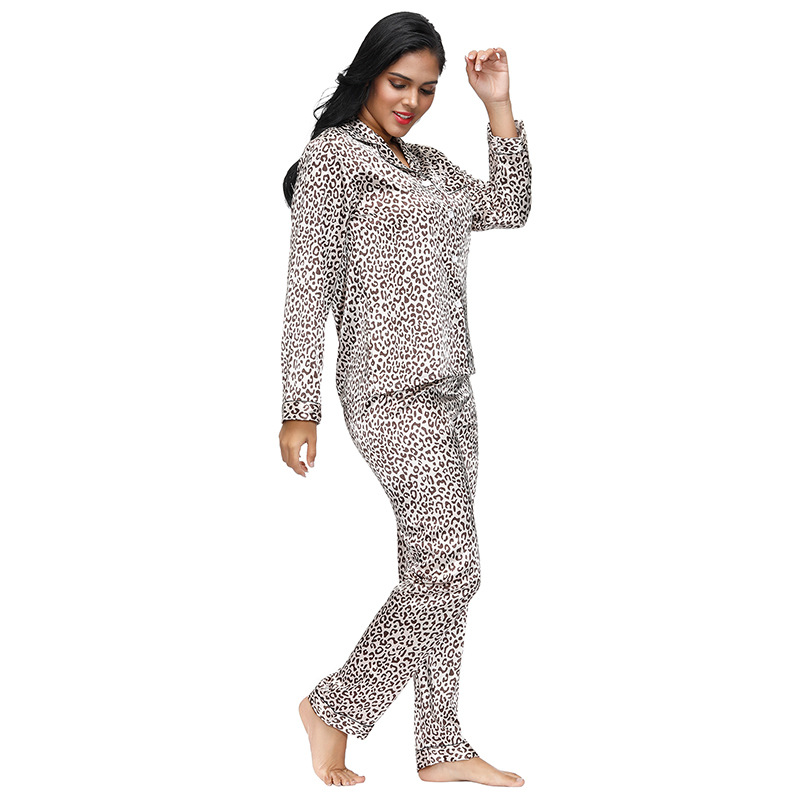 Europe And America Large Size Women's Home Wear Imitated Silk Fabric Split Long Sleeve Pajamas Two Pieces 80895