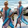 Women Boho Swimwear Kaftan Bikini Cover up V-neck Striped Patchwork Beach Maxi Dress Bathing Swimsuit 1