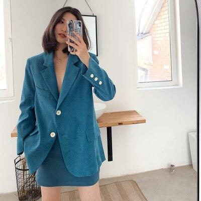 2020 Autumn Women Blue Blazer Women's Winter Suit Coats Casual Chic Top Single Breasted Office Lady Blazer Feminino