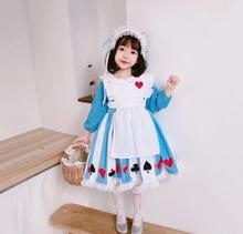 2PCS Halloween Girls Lolita Dress Long Sleeve Alice Girls Baby Princess Dress Maid Cosplay Carnical Costume Dress For Girl Y2869