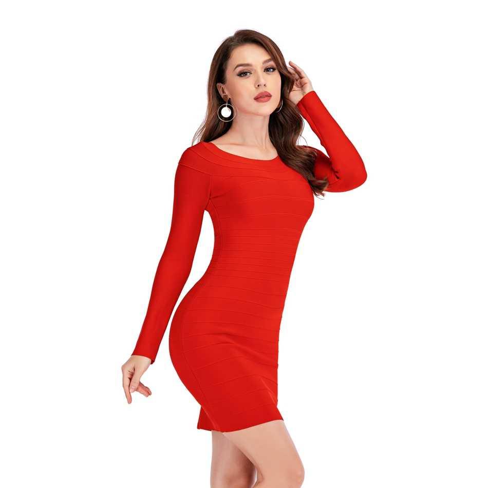 แขนยาวสีแดงผู้หญิงBodycon Mini Vestidos Oคอคนดังปิดชุดไหล่สำหรับCelebrityค็อกเทล