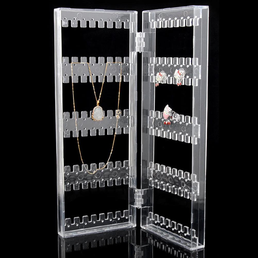 Transparent Earrings Necklace Display Stand Foldable Jewelry Rack Organizer for earrings
