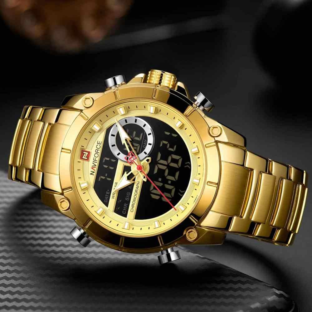 NAVIFORCE الرجال العسكرية الرياضة ساعة معصم الذهب الكوارتز الصلب مقاوم للماء المزدوج عرض الذكور ساعة الساعات Relogio Masculino 9163