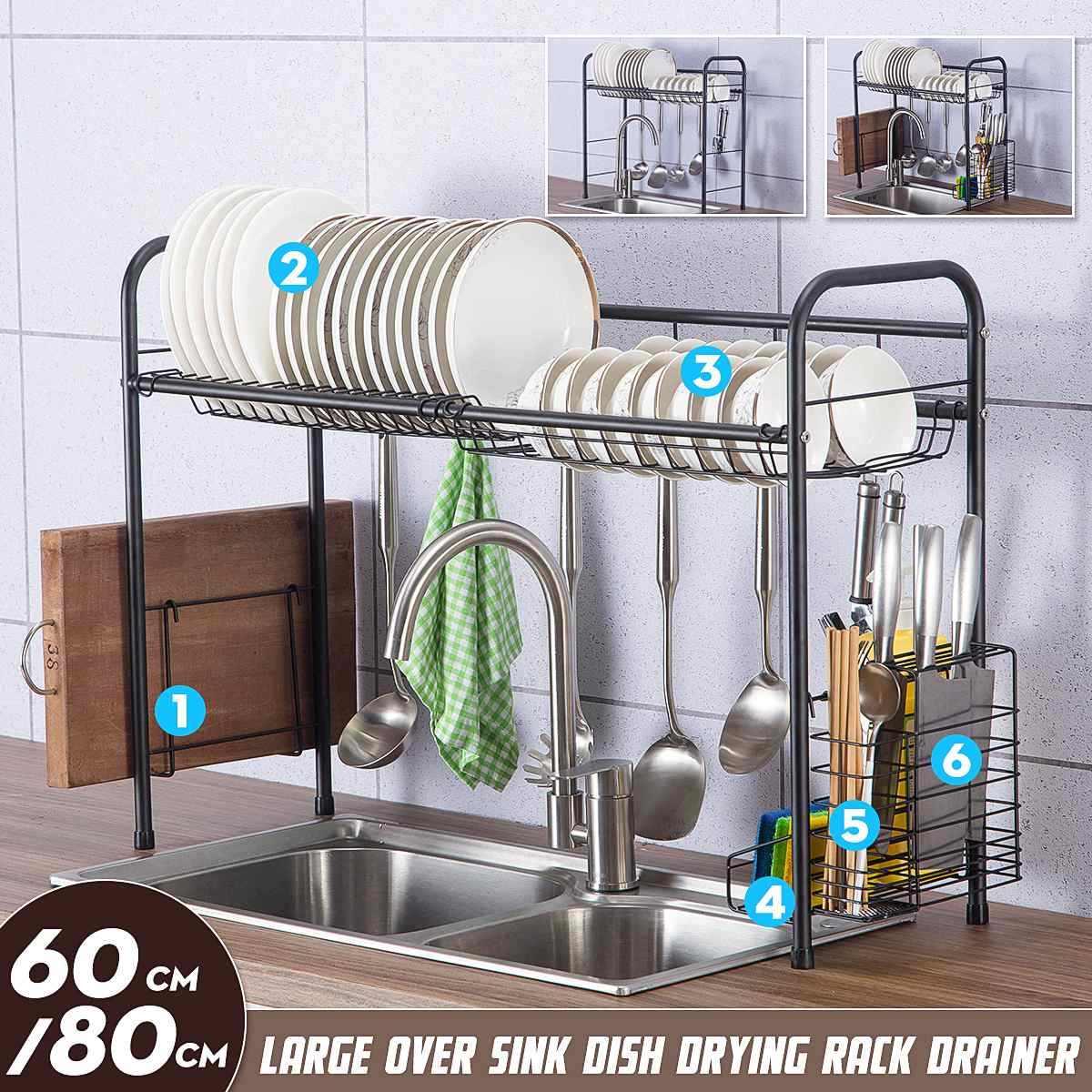 stainless steel over sink dish rack drainer kitchen organizer storage holder shelf drying plate basket knife fork organizer tool