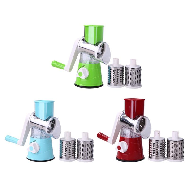 3-in-1 다기능 드럼 로터리 그레이터 주방 도구 핸드 커터 감자 슬라이서 야채 Spiralizer 주방 용품 도구