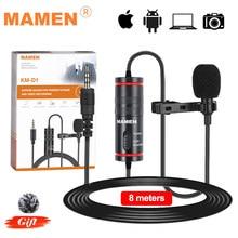 MAMEN 8m Clip-on Lavalier Mic Mini Audio 3.5mm Collar Condenser Lapel Microphone for Recording Canon / iPhone DSLR Cameras