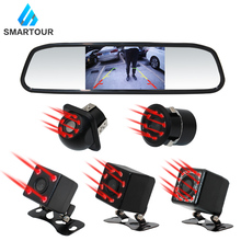 цена на Smartour Car HD Video Auto Parking Monitor, LED Night Vision Reversing Rear View Camera With 4.3 inch Rearview Mirror Monitor