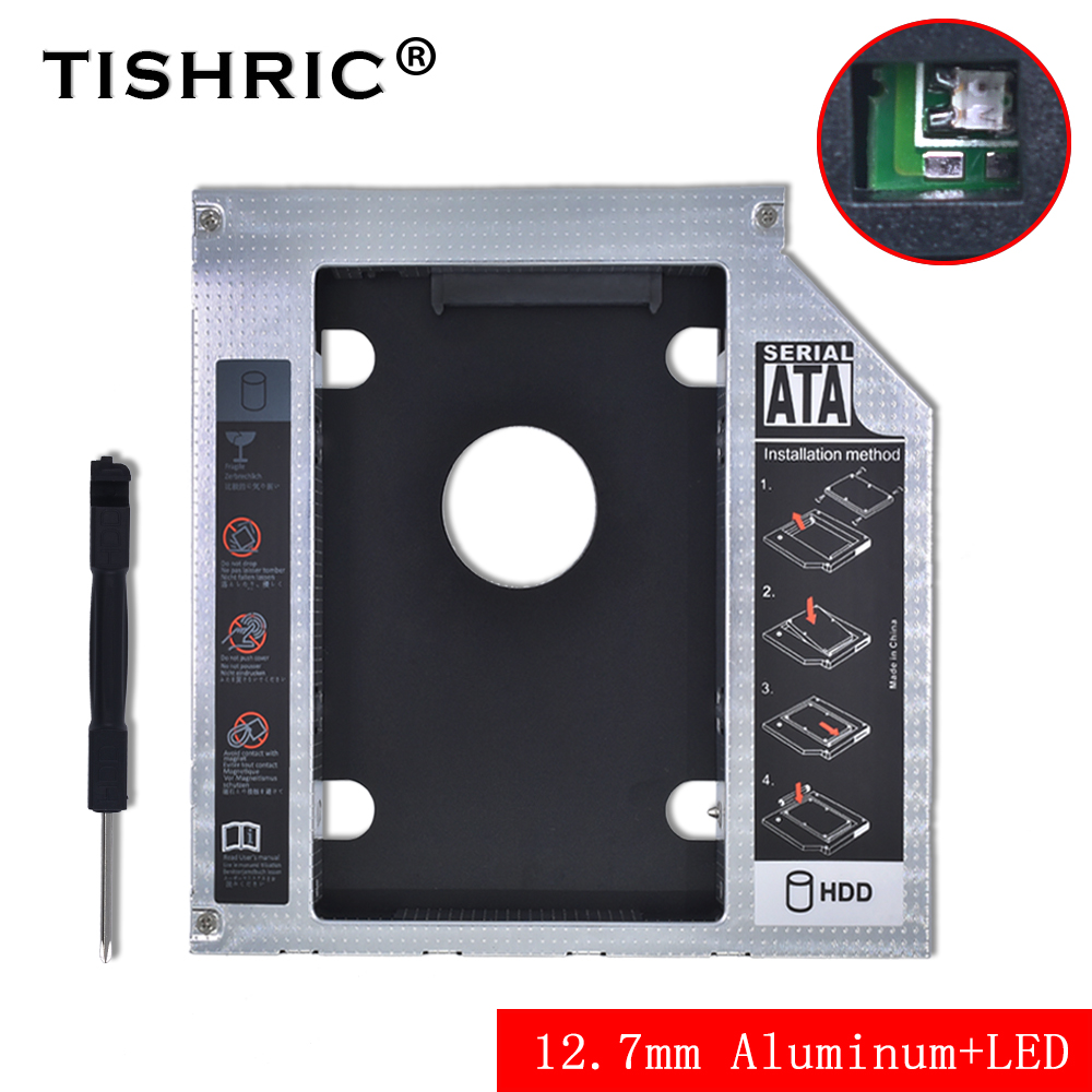 Tishric Aluminum Universal 12.7mm SATA 3.0 HDD Caddy With LED Adapter Hard Disk DVD HDD Enclosure For Laptop DVD-ROM ODD Optibay