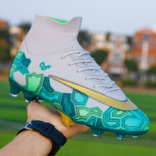 Soccer Cleats Sneakers Football-Boots Tranining Long-Spikes Sports High-Ankle Breathable