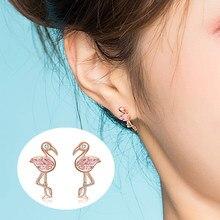 WOSTU – boucles d'oreilles flamands roses pour femmes, en argent Sterling 925, meilleure vente, bijoux, doux cadeau, CTE120