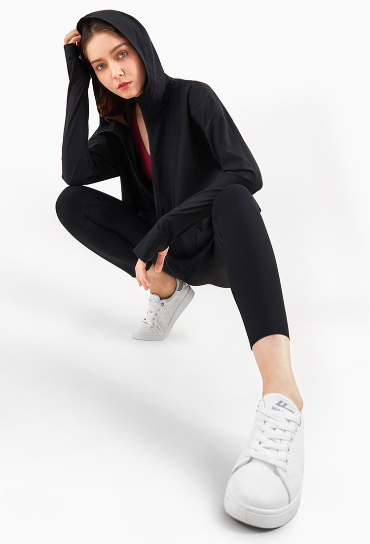 Loose Hooded Running Jacket for Women Womens Clothing Jackets & Hoodies
