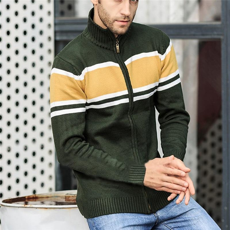 Solid Zipper Sweater Coat for Men Zipper Spring Winter Beige Coat Men Casual Long Sleeve Sweatshirts Male Jackets #2g15 (21)
