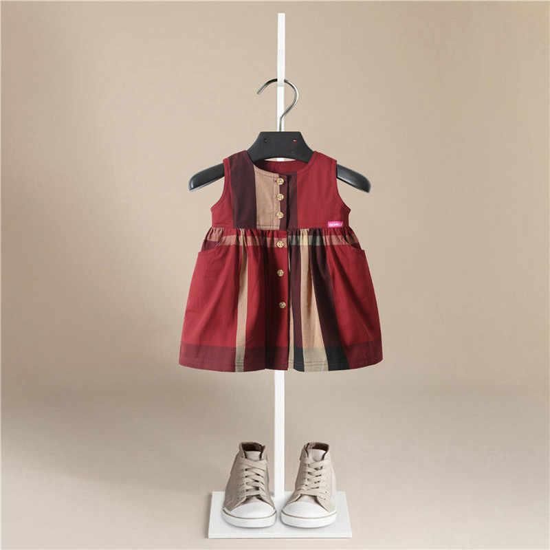 Gadis Gaun 2019 Baru Bayi Gaun Warna Solid Busur Kartun Ulang Tahun Bayi Perempuan Musim Panas Tanpa Lengan Pakaian Anak-anak Gadis Pakaian