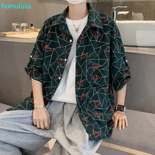 Plaid printed short sleeve shirt men's summer Japanese Korean fashion loose 7