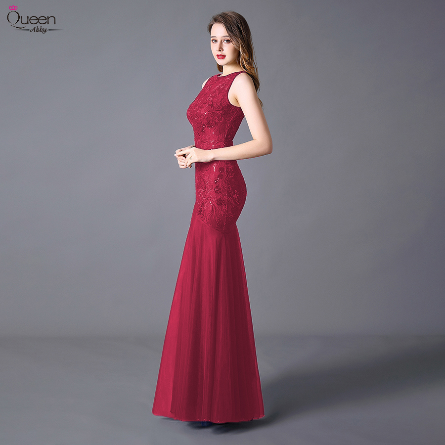 Plus Size Sequins Evening Dresses Long Embroidery Queen Abby Mermaid Sleeveless Women Lace Formal Party Gown Robe De Soiree 2020 5