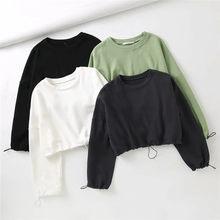 Krótkie bluzy damskie bluza ze ściąganym kapturem damskie solidna kolorowa bluza damska wiosenne jesienne z długim rękawem rękaw pulowerowe topy bluzy