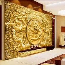 Custom 3D Muurschildering Reliëf Goud Carving Chinese Draak Foto Wallpapers Voor Hotel Restaurant Woonkamer Behang Home Decor